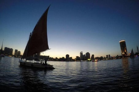 Layover tour Felucca Ride on the Nile River during sunset