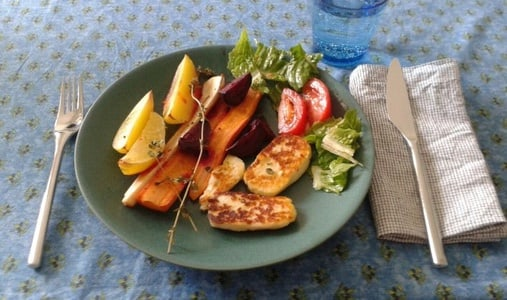 Root vegetables and halloumi cheese