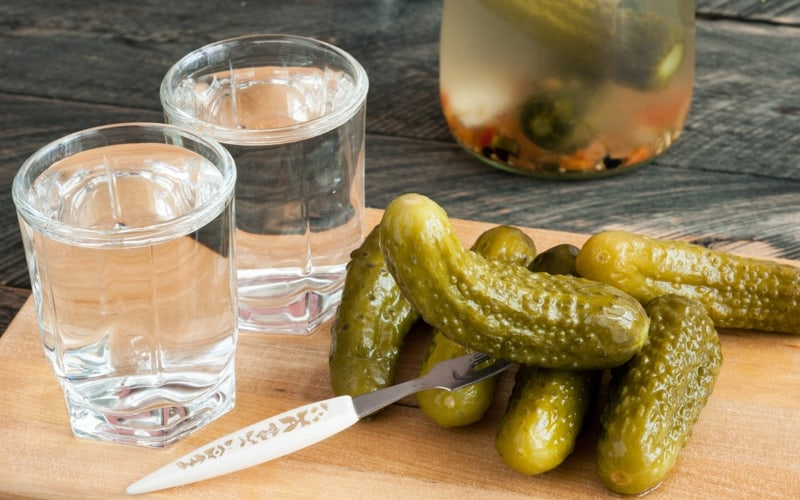 russian vodka and pickled cucumbers