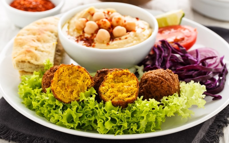 falafel ans vegetables in israel
