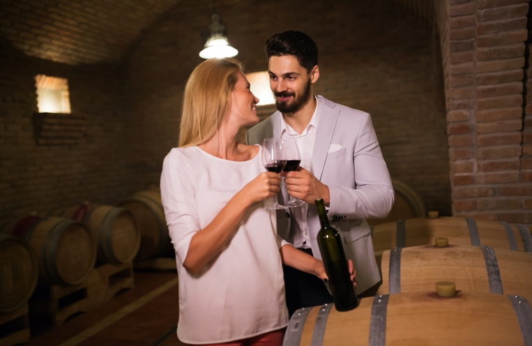 Wine tasting couple