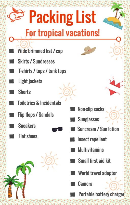 packing list for tropical vacations