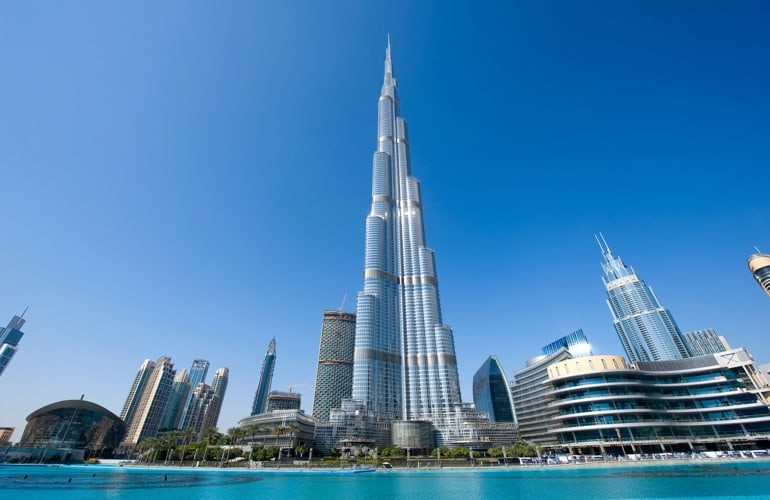 Burj Khalifa day view from the Dubai Fountain