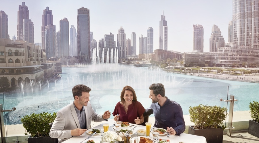 restaurant in dubai with a view of dubai downtown