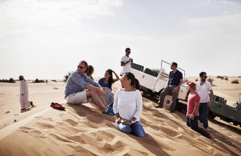 dubai desert safari tourists